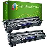 Printing Pleasure CF283A / 83A Kit 2 Toner Compatibili per HP Laserjet Pro M125/M126/M127/M128/M225/M201/M202, Nero