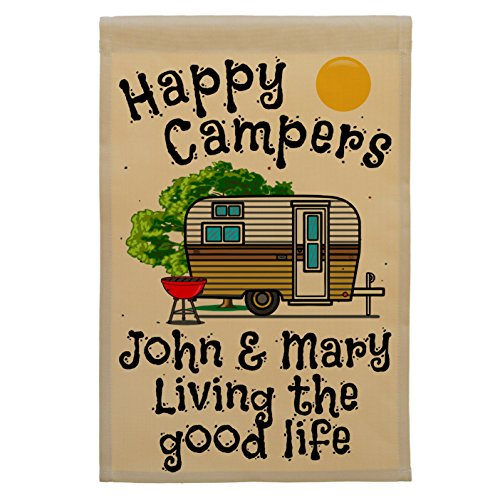 Happy Campers Personalized Campsite Flag made our list of gift ideas rv owners will be crazy about that make perfect rv gift ideas which are unique gifts for camper owners