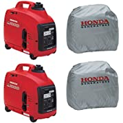 Honda Power Equipment (2) EU1000i 1000W Gas Generators, (2) Silver Storage Cover