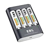 EBL 40Min iQuick Smart Battery Charger with USB Port and AA 2300mAh Rechargeable Batteries 4 Counts