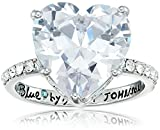 Betsey Johnson betsey blue cubic zirconia heart stone crown ring size 7