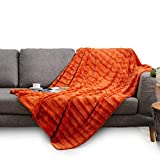 Cheer Collection Ultra Soft Faux Fur to Microplush Reversible Cozy Warm Throw Blanket - 60' x 50' - Rust