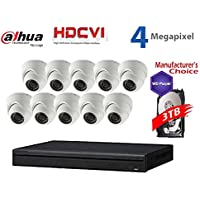 Dahua 4MP Tribrid Security Package: 16CH 4MP Tribrid HCVR7216 (CVI AND IP and Analog ) w/3TB Security Hard Drive + (10) 4MP Outdoor HDCVI WDR IR HDW2401 3.6MM Eyeball (NO LOGO OEM Local Support)