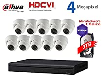 Dahua 4MP Tribrid Security Package: 16CH Tribrid HCVR7216AN-4M (CVI AND IP and Analog ) w/3TB Security Hard Drive + (10) 4MP Outdoor HDCVI IR 3.6MM Eyeball Camera (NO LOGO OEM Local Support)