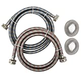 Houseables Washing Machine Hose & Lint Trap Set, Washer Hoses, Braided, 2 Pack, 6 ft, Stainless Steel, Water Lines Supply Hookup, Inlet Fill Connector, Red/Blue, Hot/Cold, Laundry, Clothes, Appliance