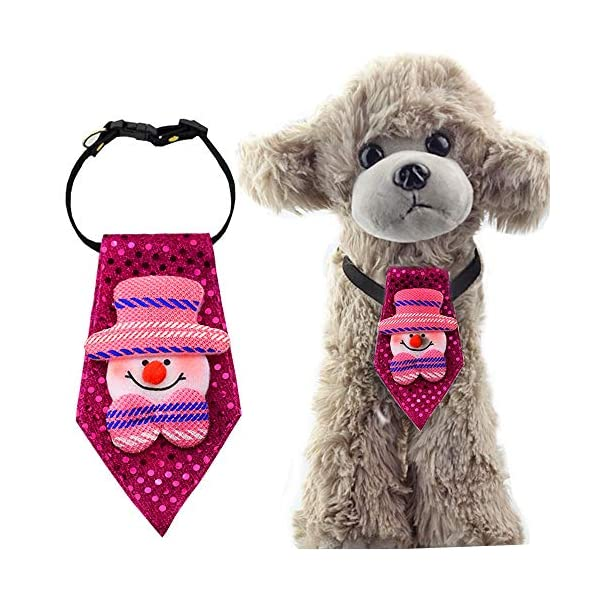 ANIAC Pet Christmas Santa Collar Neckwear Pattern Neck Grooming Accessories Small to Big Dogs (Snowman, Small) 1