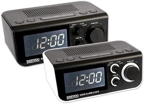 Daewoo DCR-48W Reloj Digital Negro, Color Blanco - Radio (Reloj, Digital, FM, LED, Negro, Blanco, 9 V)
