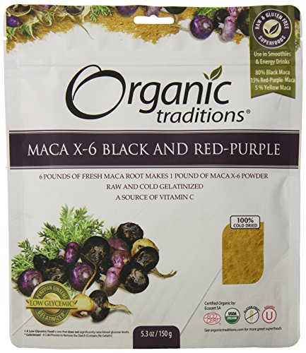 Organic Traditions Organic Gelatinized Raw 6:1 Maca X-6 Powder, Black and Red-Purple, 5.3 Ounce by Organic Traditions