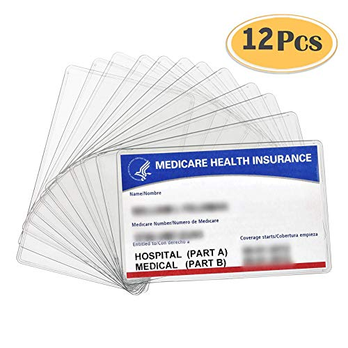- 12 Pack New Medicare Card Holder Protector Sleeves, 12Mil Clear PVC Soft Waterproof Medicare Card Protector for New Medicare Card Credit Card Business Card, Heavy Duty Card Sleeves