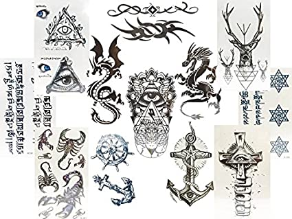 12 pequeñas hojas negras Tatuajes Falsos para hombres dragón ...