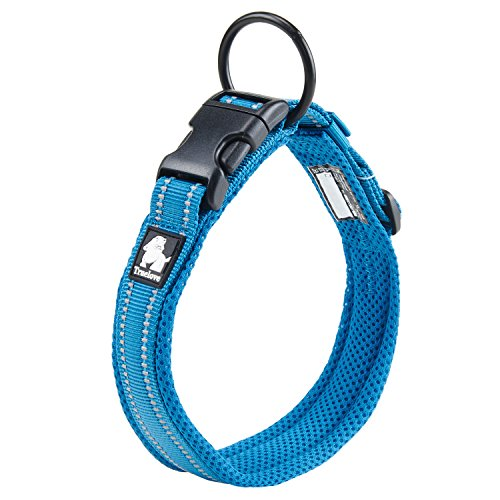 Pettom Adjustable Nylon Pet Collar Padded 1 Large 3M Reflective Dog Collar with Ring(XL, Blue)