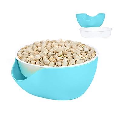 Double Dish Pistachio Bowl,Nuts Bowl-Peanut,Cherries,Edamame,Fruit,Breakproof Snack Serving Bowl (Blue/White)(Blue)