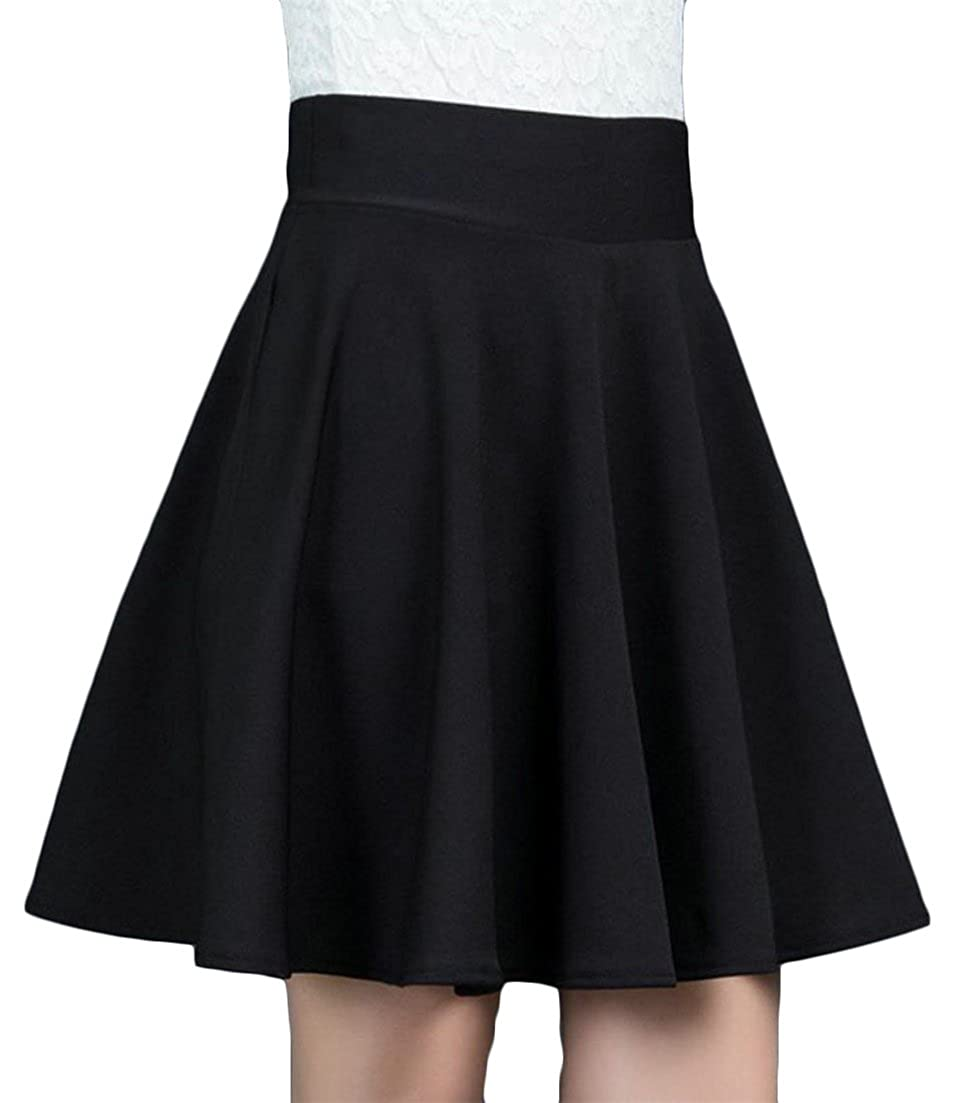 Cromoncent Women High Rise Solid Color Pleated Swing A Line Mid Length Slim Skirts