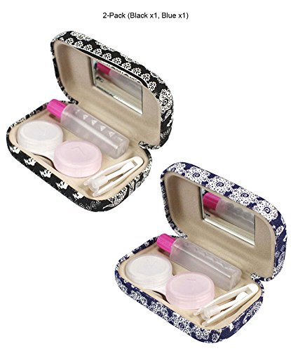 [2 PCS Set], JAVOedge Black and Blue Elephant Print Contact Lens Carrying Case Travel Kit by JAVOedge (Image #6)