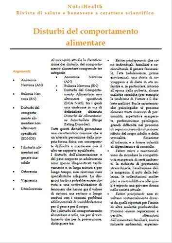 Disturbi del comportameto alimentare (Italian Edition)