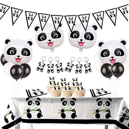 JOYMEMO Panda Party Supplies Favors Key Chain Table Cloth Napkins Panda Bear Birthday and Baby Shower Decorations]()