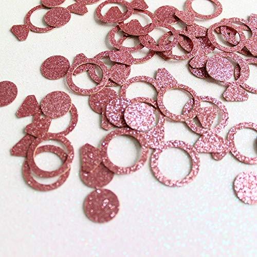 Circle Rose Ring - Glitter Paper Confetti - Rose Gold Circle Diamond Ring Crown, Gold Circle Heart Diamond Ring Crown Stars for for Party Decor and Table Decor - 100pcs/pack