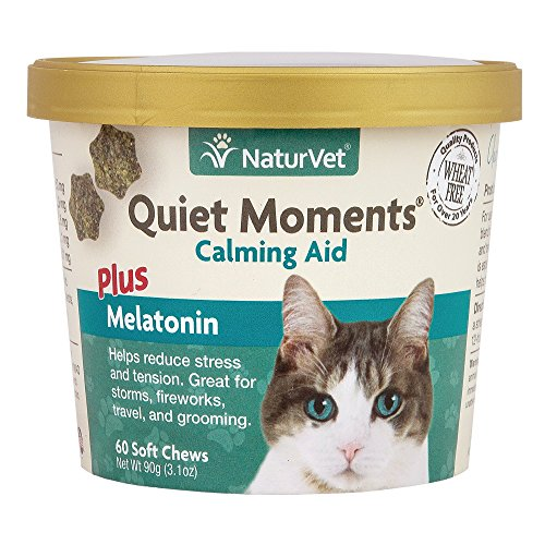 NaturVet -Quiet Moments Calming Aid for Cats Plus Melatonin - 60 Soft Chews - Helps Reduce Stress & Promote Relaxation - Great for Storms, Fireworks, Travel & Grooming