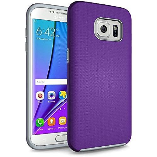 Galaxy S7 Edge Case, technext020 Hybrid Dual Layer Silicone Bumper Slim Fit Protective Cover for Samsung Galaxy S7 Edge (2016) Purple Sales