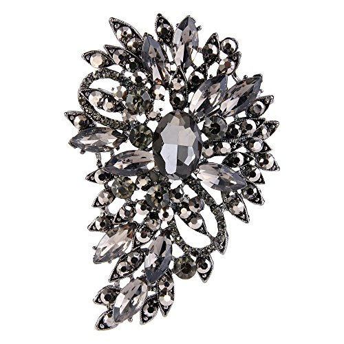 EVER FAITH Women's Rhinestone Crystal Bridal Flower Leaf Bouquet Brooch Black Black-Tone