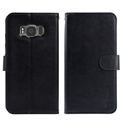 Galaxy S8 Active case,ARAE [Wrist Strap] Flip Folio [Kickstand Feature] PU leather wallet case with ID&Credit Card Pockets For Samsung Galaxy S8 Active (not for s8)