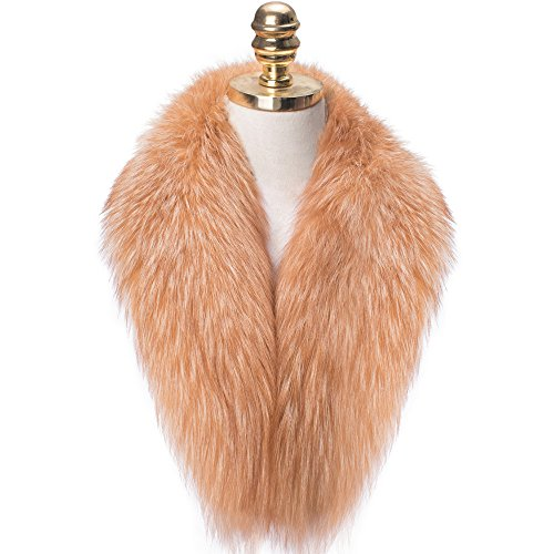 MONICA REA Women's Extral Larger Fox Fur Collar Shawl Scraf Perfect For Winter Coat by MONICA REA