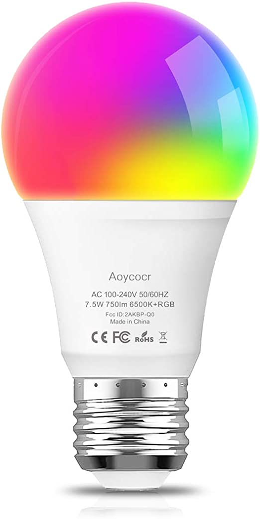 1 Pack No Hub Required 750 Lumens Aoycocr A19 E26 Color Changing Lights Bulb Work with Alexa Google Home IFTTT for Smart Home 65W Equivalent 7.5 Smart Light Bulb Dimmable Soft White 2700K RGBW