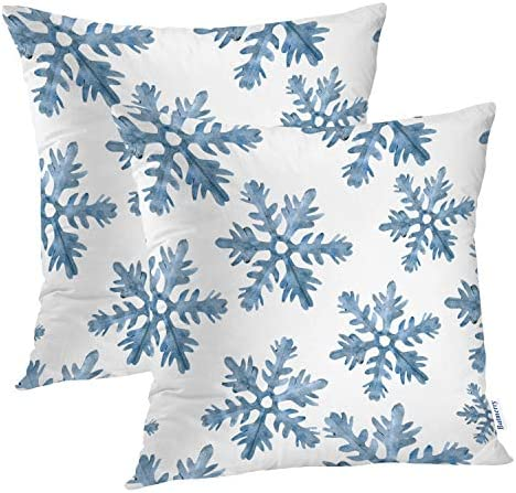 Amazon Com Batmerry Christmas Blue Decorative Pillow Covers 16 X 16 Inch Blue Snow Winter With Snowflakes Falling White Crystal Double Sided Throw Pillow Covers Sofa Cushion Cover Square 16 Inches Set Of 2