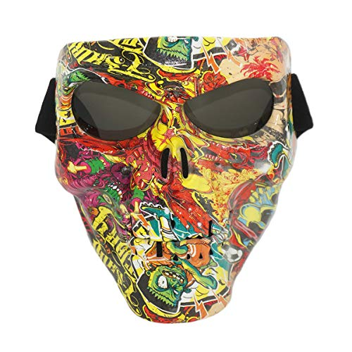 Vhccirt Airsoft/Paintball/Motorcross Protective Mask Halloween Spooky Decor Scary Skull/Zombie Face Mask Halloween Grim Reaper Cosplay Street Graffiti Mask Gray Lenses -
