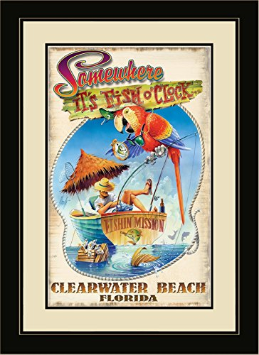 Northwest Art Mall JM-6767 FGDM FOC Clearwater Beach Florida Fish O Clock Framed Wall Art by Artist Jim Mazzotta, 16