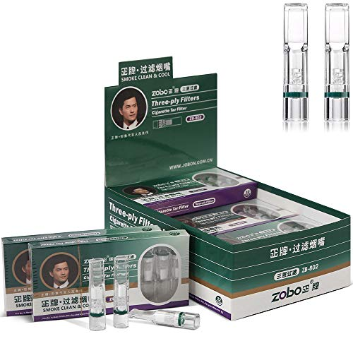 ZOBO Cigarette Filter Holder Three-Layer Microporous Multi-Filtering Disposable Cigarette Filters to Reduce Tar and Smoke Stains, Cigarette Holder for Women and Men (120 Per Pack)