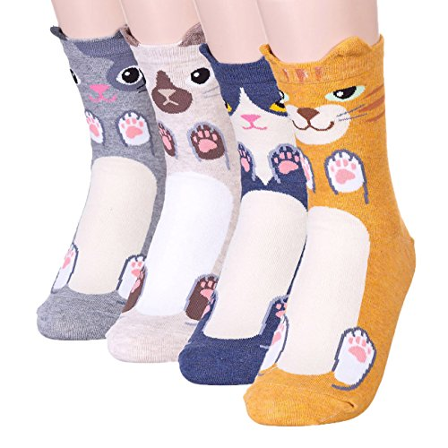 Womens Cute Animal Design Socks,Novelty and Funny and Cool Animal Cotton Socks for Women (Cute Smile Cats 4 Pairs)