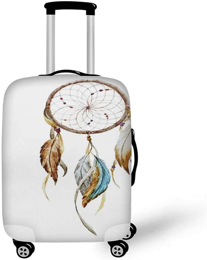 26.3W x 30.7H Feather Stylish Luggage Cover,Hand Drawn Head of Cat with Crown Sketchy Boho Ink Drawing Style Hippie Animal for Luggage,L