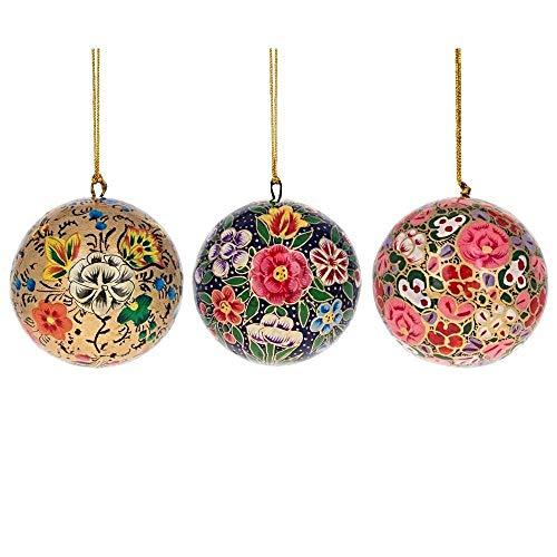BestPysanky 3 Floral Wooden Christmas Ball Ornaments