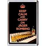 KEEP CALM and CARRY ON JÄGERBOMBING Fridge Magnet with an image of a bottle of Jägermeister, glasses filled with Red Bull and some shot glasses. A unique Father's Day or Birthday Gift Idea.