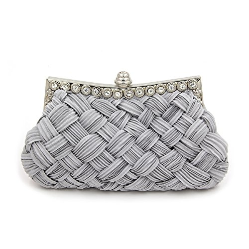 Elegant Braided Pleated Glitter Rhinestone Clutch Evening Bag, Silver Grey