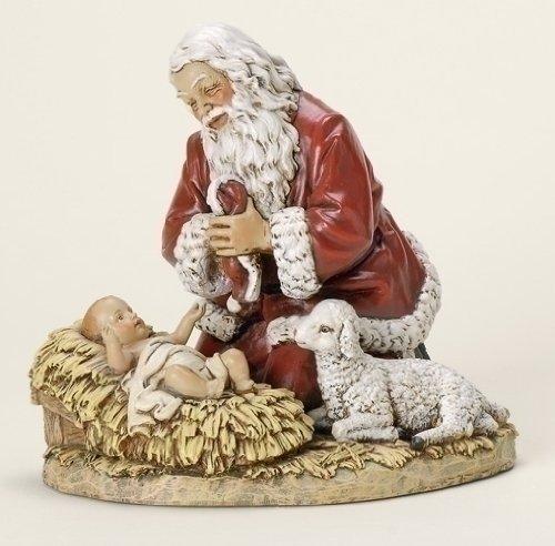 Roman Set of 2 Subtle Colored Kneeling Santa Claus with Baby Jesus Christmas Figures 8.75