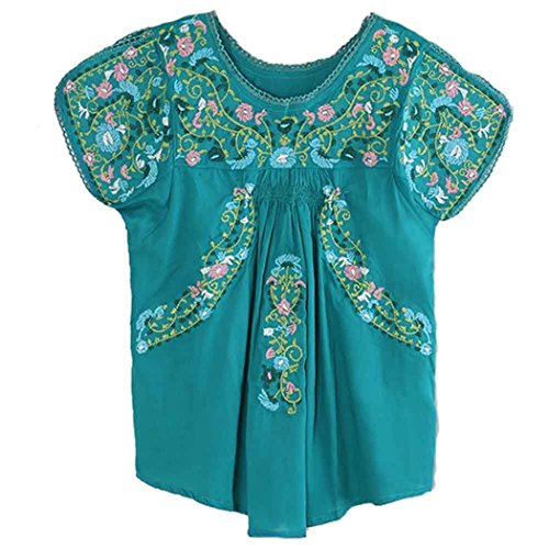 Embroidered Peasant Blouse - Kafeimali Women's Peasant Tops Mexican Blouse Colorful Flowers Embroidered Boho T Shirt (Light blue)