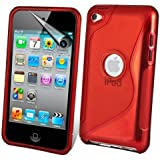 iPod Touch4 TPU Sデザインソフトケースカバー 液晶保護フィルム&クリーナー1セット付属 レッド