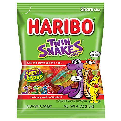 Haribo Gummi Candy, Twin Snakes, 4 Ounce (Pack of 12)