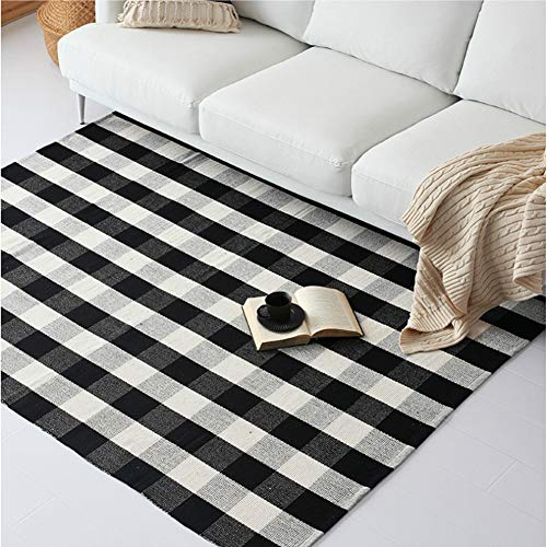Dave Z-ONE Cotton Rug Hand-Woven Checkered Carpet Braided Kitchen Mat Black and White Floor Rugs Living Room Area Rug,4' x 6' ()