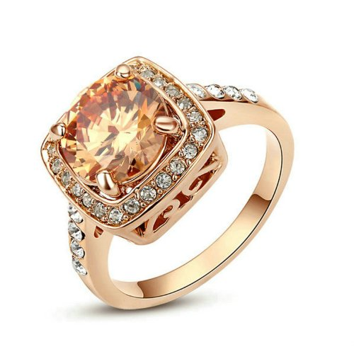 Yoursfs Halo Ring Rose Gold Plated Women Fashion Jewelry Yellow Stone Cocktail Vintage Amber Crystal Ring Size 8 Gift