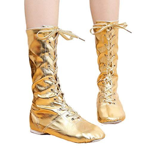 Boots Shoes Toe Dance Gold Pointe Shoes Lace Women Dance LINNUO Shoes Up Jazz Ballet Shoes Modern OHBnqvwz