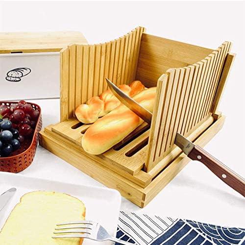 GAOJIAN Trancheur à Pain en Bambou Coupe-Pain de Cuisine Toast pour Pain Maison, gâteaux, Bagels, Pliable et Compact