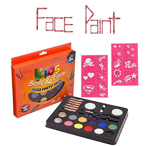 [Face Painting Kits for Kids, Best Face Paint and Stencil Set with Brushes, Glitter and Crayons - Safe and Easily Washable Face] (Special Effects Makeup Supplies)