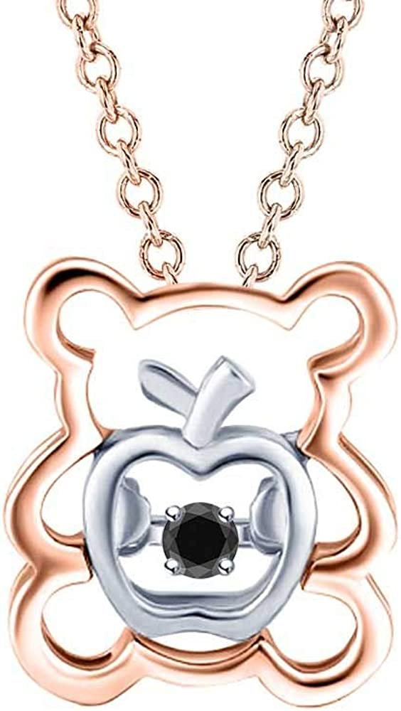 dazzlingjewelrycollection White Diamond in Apple Teddy Bear Two Tone Pendant Necklace 14k Gold Over .925 Sterling Silver for Womens