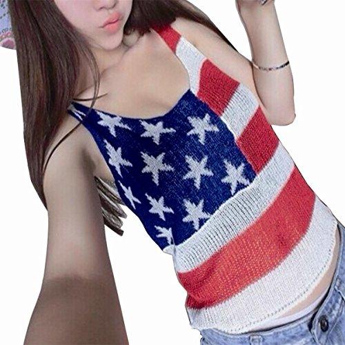 Chuangmei Women's Sexy knitting American Flag Summer Slim Tank Vest Tops