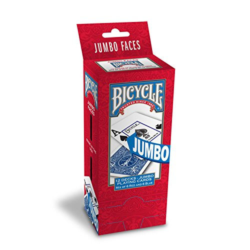 English Playing Card - Bicycle Poker Size Jumbo Index Playing Cards (Pack of 12), Red/Blue