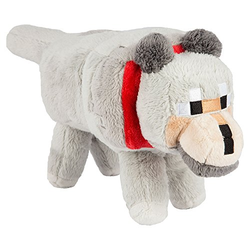 "JINX Minecraft Wolf Plush Stuffed Toy (Grey, 15"" Long)"
