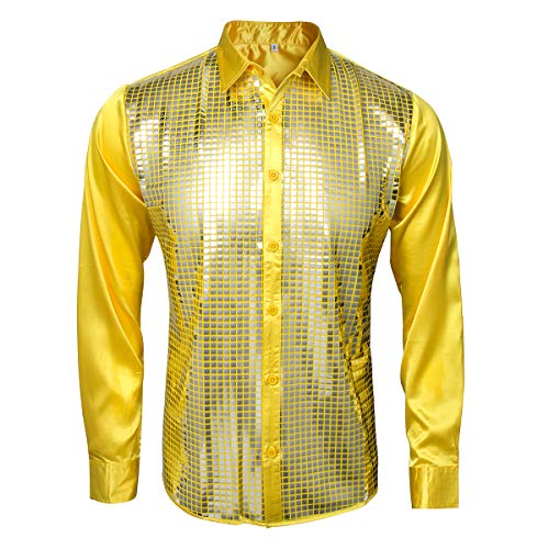 AMNPOLEN Mens Metallic Shiny Nightclub Costume Sequins Snakeskin Shirt Long Sleeve Slim Fit Button Down 70s Disco Party Fancy Dress Props (Smalll, Yellow)]()